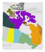 Maple Leaves Map Of Canada Fleece Blanket