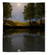 Maples In Moonlight Reflections Fleece Blanket