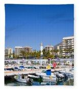 Marbella Marina In Spain Fleece Blanket