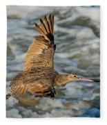 Marbled Godwit Flying Over Surf Fleece Blanket