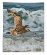 Marbled Godwit Over Surf Fleece Blanket
