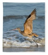 Marbled Godwit Taking Off On Beach Fleece Blanket