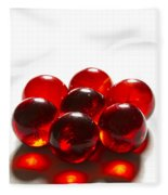 Marbles Red 3 B Fleece Blanket
