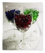 Marbles Wine Glasses 2 Fleece Blanket