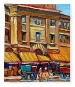 Marche Bonsecours Old Montreal Fleece Blanket