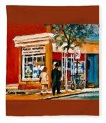 Marche Depanneur Storefront Paintings Authentic Montreal Art Prints Originals Commissions C Spandau Fleece Blanket
