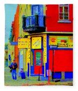 Marche Unique Cafe Sandwich Depanneur Rue St. Jacques St. Henri  Street Scenes Carole Spandau Fleece Blanket