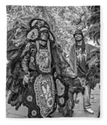 Mardi Gras Indian Monochrome Fleece Blanket
