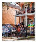 Mardi Gras Party On St Charles Ave New Orleans Fleece Blanket