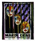 Mardi Gras Poster New Orleans Fleece Blanket