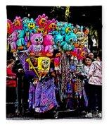 Mardi Gras Vendor's Cart Fleece Blanket