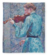 Marie Anne Weber Playing The Violin  Fleece Blanket