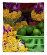 Marigolds And Limes Fleece Blanket