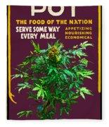 Marijuana Poster Fleece Blanket