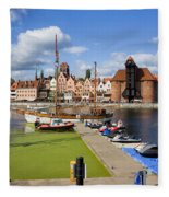 Marina And Old Town Of Gdansk Skyline Fleece Blanket