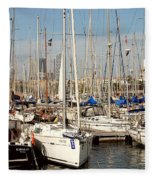 Marina At Port Vell Barcelona Fleece Blanket