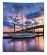 Marina At Sunset Fleece Blanket