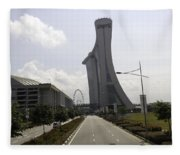 Marina Bay Sands And Singapore Flyer As Seen From A Distance Fleece Blanket
