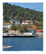 Marina Bay Scene With Boat And Houses On Hills Fleece Blanket