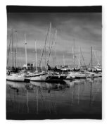 Marina Boats In Victoria British Columbia Black And White Fleece Blanket