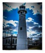 Marine City Michigan Lighthouse Fleece Blanket