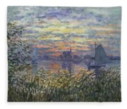 Marine View With A Sunset Fleece Blanket