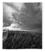 Marker - Black And White Photo Of Stone Marker And Brewing Storm In Kansas Fleece Blanket