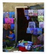 Market At Santiago Atitlan Guatemala Fleece Blanket