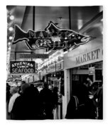 Market Grill In Pike Place Market Fleece Blanket