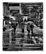 Market Square In The Rain - Knoxville Tennessee Fleece Blanket