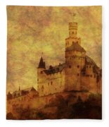 Marksburg Castle In The Rhine River Valley Fleece Blanket