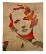 Marlene Dietrich Movie Star Watercolor Painting On Worn Canvas Fleece Blanket