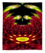 Maroon And Yellow Chrysanthemums Polar Coordinates Effect Fleece Blanket