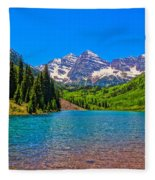 Maroon Bells In Color Fleece Blanket