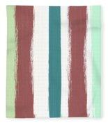 Marsala Stripe- Abstract Pattern Painting Fleece Blanket
