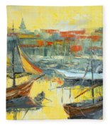 Marseille Harbour Fleece Blanket