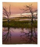 Marsh Oil Painting Fleece Blanket