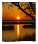 Ocean City Sunset At Old Landing Road Fleece Blanket