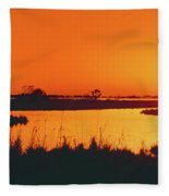Marshland At Dusk, Bayou Country, Route Fleece Blanket