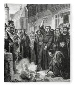 Martin Luther 1483 1546 Publicly Burning The Pope's Bull In 1521  Fleece Blanket