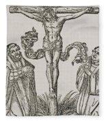 Martin Luther And Frederick IIi Of Saxony Kneeling Before Christ On The Cross Fleece Blanket