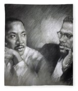Martin Luther King Jr And Malcolm X Fleece Blanket