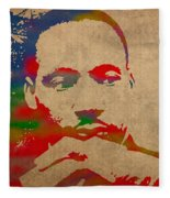 Martin Luther King Jr Watercolor Portrait On Worn Distressed Canvas Fleece Blanket