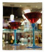 Martini Glasses In Bar Fleece Blanket
