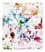 Martini Watercolor  Fleece Blanket