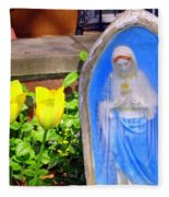Mary In Springtime Fleece Blanket