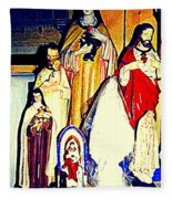 Mary Joseph And Jesus Vintage Religious Catholic Statues Patron Saints And Angels Cb Spandau Quebec Fleece Blanket