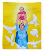 Mary Offers Her Child Jesus To His Father Fleece Blanket