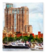 Maryland - Boats At Inner Harbor Baltimore Md Fleece Blanket