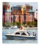 Maryland - Cabin Cruiser By Baltimore Skyline Fleece Blanket